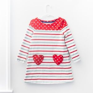 Mini Boden Striped Heart Pocket Dress Size 4-5Y
